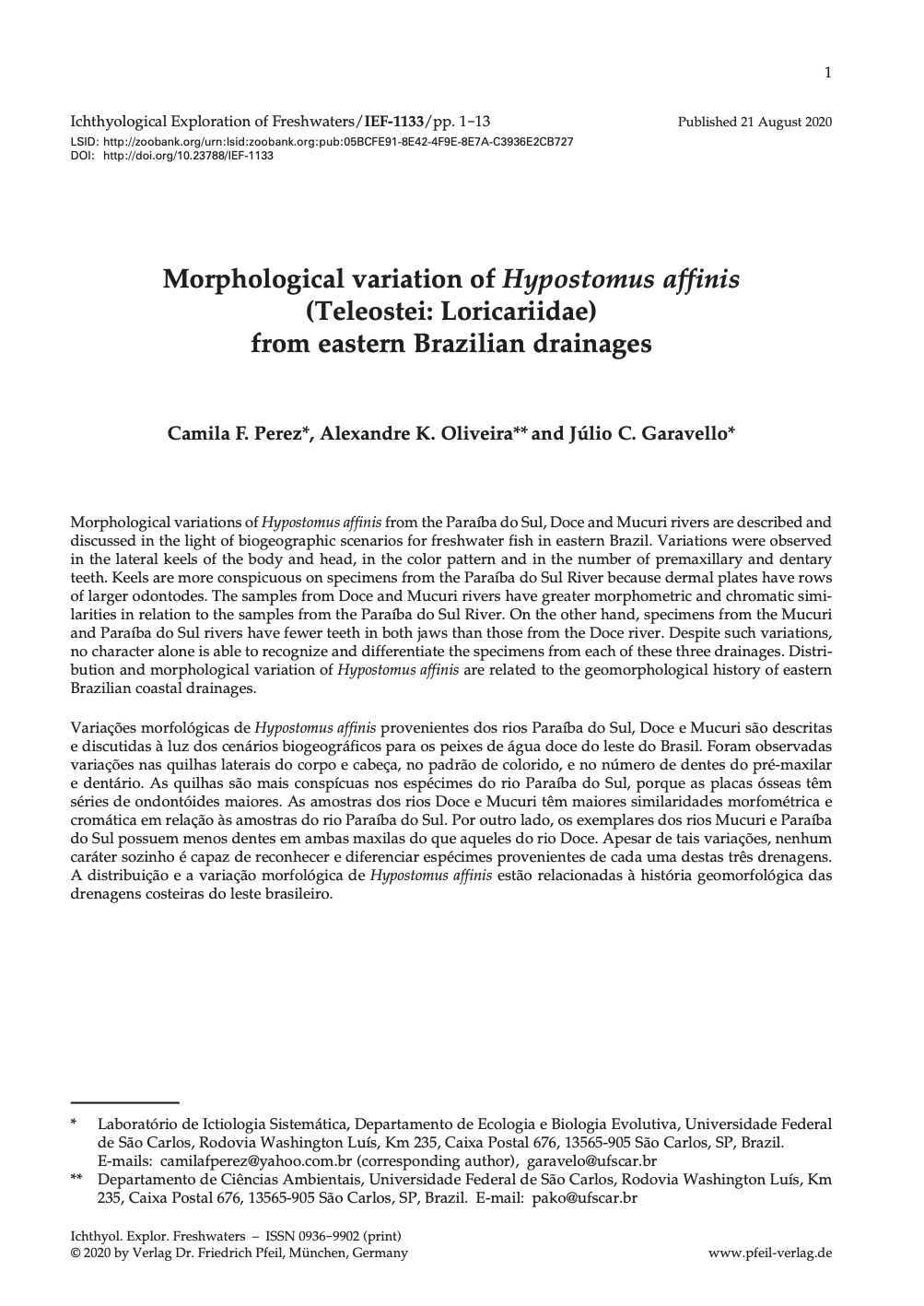Morphological variation of Hypostomus affinis (Teleostei: Loricariidae) from eastern Brazilian drainages